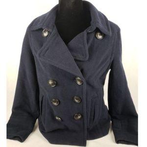 Aeropostale Wool Blend Navy Blue Pea Coat